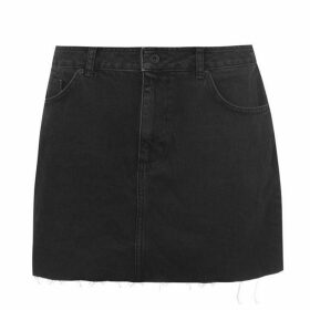 Jack Wills Roxy Raw Hem Denim Skirt - Black