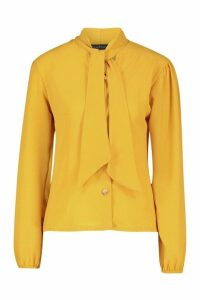 Womens Pussybow Button Through Volume Sleeve Blouse - yellow - 10, Yellow