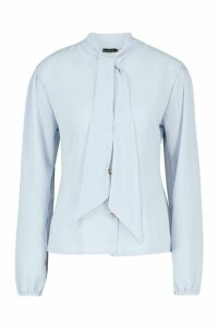 Womens Pussybow Button Through Volume Sleeve Blouse - blue - 14, Blue