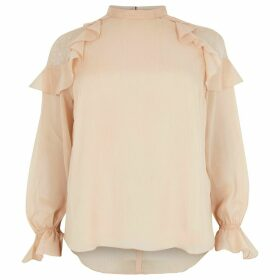 River Island Womens Plus Pink glitter lace frill shoulder blouse