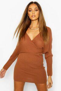 Womens Knit Wrap Mini Dress - beige - 14, Beige