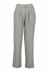 Womens Grid Check Tapered Trouser - grey - 14, Grey