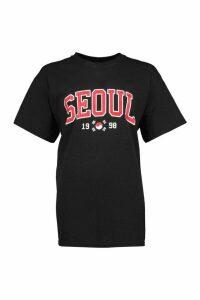 Womens Seoul Slogan Print T-Shirt - black - S, Black