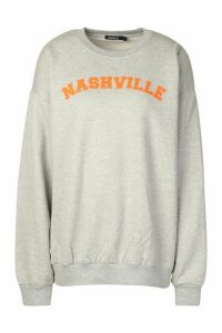 Womens Nashville Slogan Print Sweatshirt - grey - M, Grey