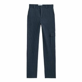 Striped Straight Leg Trousers, Length 33