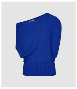 Reiss Meryl - Asymmetric  Knitted Top in Cobalt Blue, Womens, Size XL
