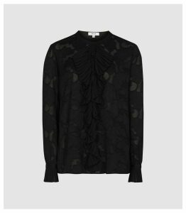 Reiss Arleigh - Ruffle Detailed Jacquard Blouse in Black, Womens, Size 16