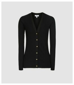 Reiss Mae - Slim Fit Ribbed Cardigan in Black, Womens, Size XL