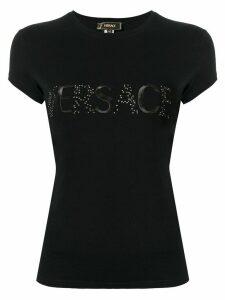 Versace Pre-Owned embellished logo T-shirt - Black