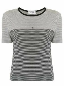 Chanel Pre-Owned striped CC T-shirt - Black
