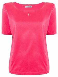 Yves Saint Laurent Pre-Owned embellished logo T-shirt - PINK