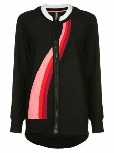 No Ka' Oi wave print zip-up top - Black