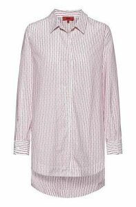 Oversized-fit blouse in cotton with collection logo stripes