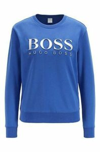 Cotton terry sweatshirt with three-dimensional metallic logo
