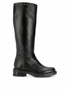 Albano stud embellished mid-calf length boots - Black