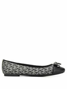 Michael Michael Kors glitter logo ballerina shoes - Black