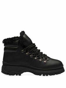 Prada faux fur-lined hiking boots - Black