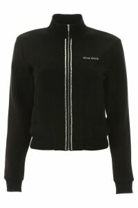 Miu Miu Zipped Sweatshirt With Crystals