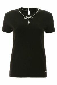 Miu Miu T-shirt With Decorative Pearls