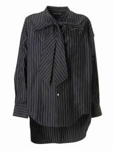 Balenciaga Stripe Print Back Logo Blouse