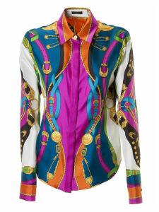 Versace Belted Waist Contrast Print Shirt