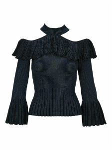 Self Portrait Lurex Cold Shoulder Frill Knit Top