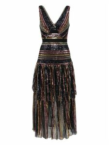 self-portrait Stripe Sequin Midi Dress