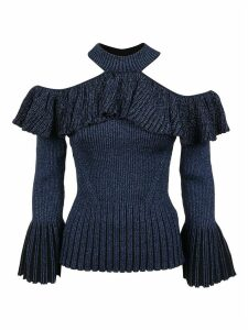 self-portrait Indigo Lurex Cold Shoulder Frill Knit Top
