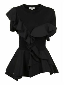 Alexander McQueen Ruffle Dt Cotton Top