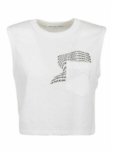 Alexander Wang Top High Twist Jersey Muscle With Warped Logo Print