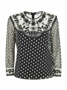 RED Valentino Floral Applique See-through Blouse