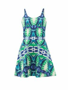 Le Sirenuse, Positano - Cindy Fish Tail-print Cotton-poplin Mini Dress - Womens - Green Print