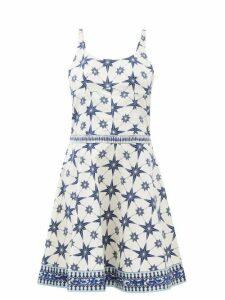 Le Sirenuse, Positano - Cindy Star-print Cotton-poplin Mini Dress - Womens - Blue Print