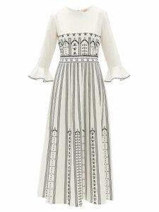 Le Sirenuse, Positano - Tracey Greek Mask-embroidered Cotton Dress - Womens - Cream