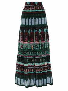 Le Sirenuse, Positano - Sevillana Capri Prosecnium-print Silk Maxi Skirt - Womens - Black Print