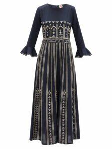 Le Sirenuse, Positano - Tracey Embroidered Cotton-poplin Dress - Womens - Navy