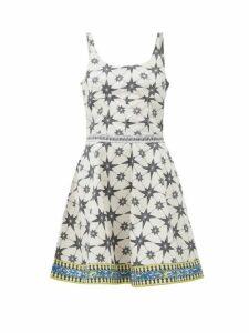 Le Sirenuse, Positano - Cindy Star-print Cotton-poplin Mini Dress - Womens - Green Print