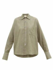 Marrakshi Life - French-cuff Cotton-blend Jersey Shirt - Womens - Dark Green