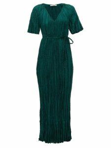 Mes Demoiselles - Twinkie Crinkled Silk-satin Maxi Dress - Womens - Green