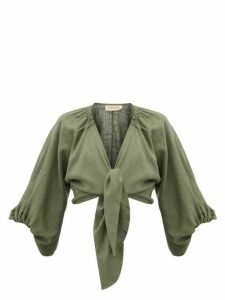 Adriana Degreas - Tie-front Linen-blend Shirt - Womens - Green
