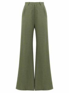 Adriana Degreas - High-rise Linen-blend Wide-leg Trousers - Womens - Green