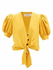Adriana Degreas - Tie-front Blouse - Womens - Yellow