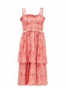 Adriana Degreas - Hydrangea-print Tiered Dress - Womens - Pink Print