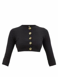 Lisa Marie Fernandez - Cropped Seersucker Cardigan - Womens - Black