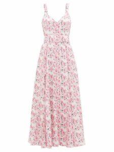 Gül Hürgel - Belted Floral-print Linen Dress - Womens - Pink Print