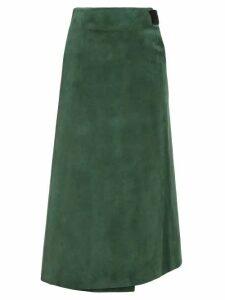 Albus Lumen - Lima Suede Wrap Skirt - Womens - Green