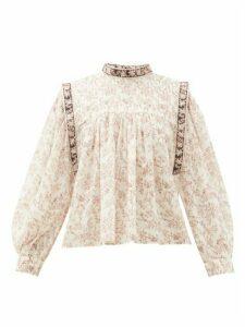 Isabel Marant Étoile - Vega Floral-print Cotton Blouse - Womens - Ivory Multi