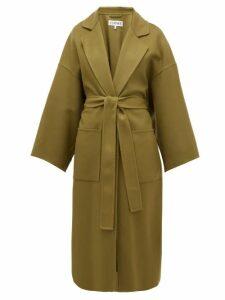 Loewe - Oversized Belted Wool-blend Coat - Womens - Khaki
