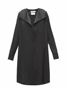 Bottega Veneta - Belted Wide-lapel Silk-satin Dress - Womens - Black