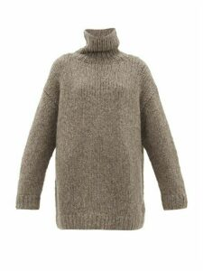 Lauren Manoogian - High-neck Long-line Wool-blend Sweater - Womens - Grey